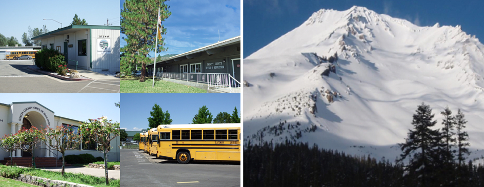 From left to right: Columbia School District Office, Trinity County Office of Education building, Mount Shasta covered in snow, Shasta County Office of Education entrance, School buses lined up