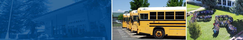 From left to right: Enterprise High School front office, School buses lined up, Fall River Students on lawn