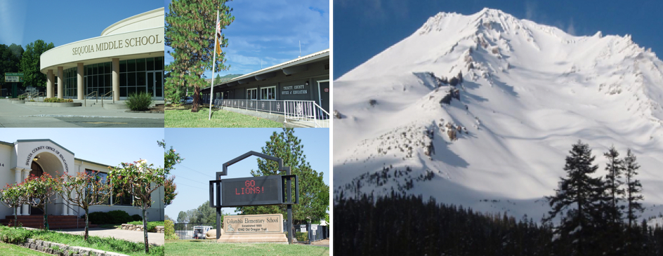 From left to right: Sequoia Middle School, Trinity County Office of Education building, Mount Shasta covered in snow, Shasta County Office of Education entrance, Columbia Elementary School