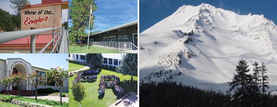From left to right: Bleachers, Trinity County Office of Education building, Mount Shasta covered in snow, Shasta County Office of Education entrance, Fall River Students on lawn