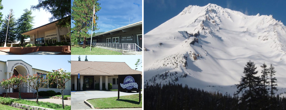 From left to right: Enterprise High School front office, Trinity County Office of Education building, Mount Shasta covered in snow, Shasta County Office of Education entrance, Gateway School District Office Sign