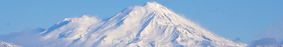 Mount Shasta covered in snow